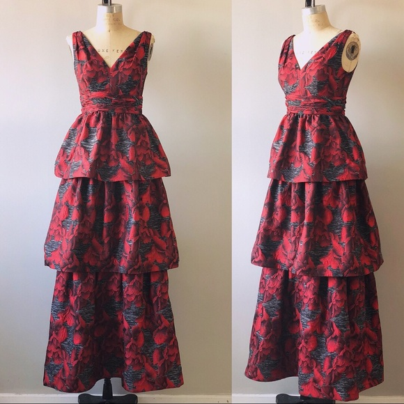 Adrianna Papell Dresses | Couture Red Orchid 3 Tiered Skirt Jacquard ...